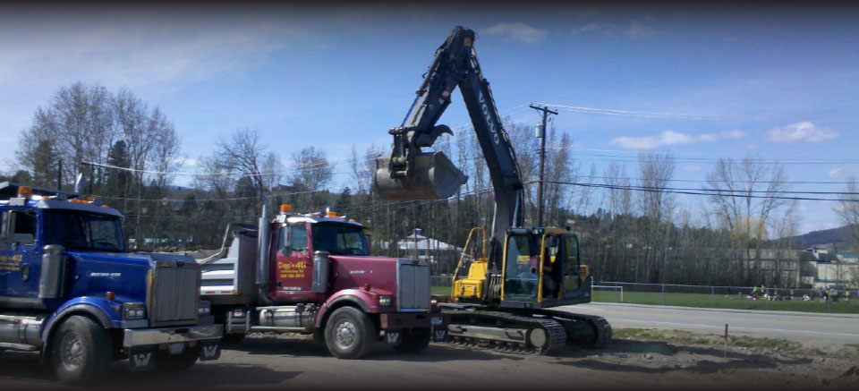 Our construction trucks and excavator